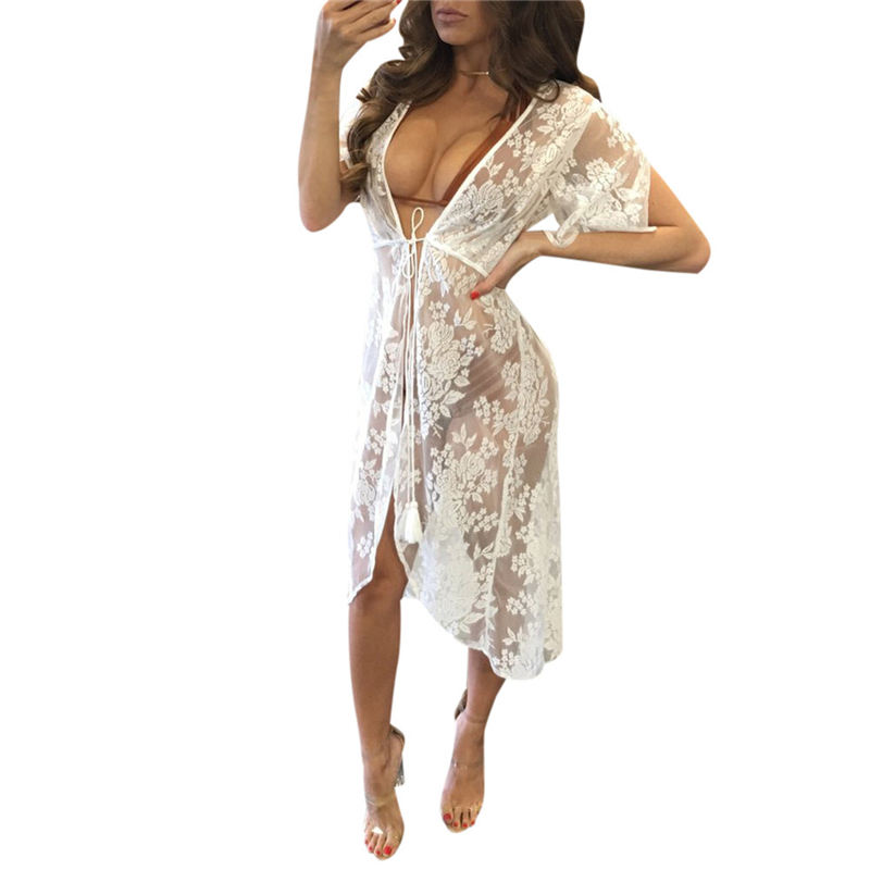 Floral Embroidery Beach Cover Up 2017 Women Bikini Cover ups Lace Swimwear Sarong Beach Dress tunics for beach Wear 1