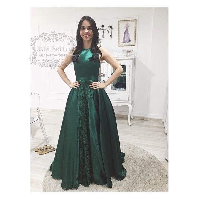 Elegante 2017 Formal Que Largo Vestido Rebordea Verde Bordado roWEBCxeQd