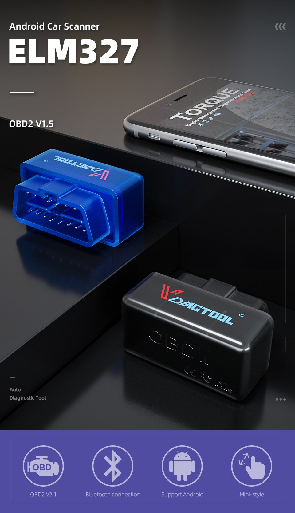 OBD2 Super MINI hhobd ELM327 Bluetooth V2.1V1.5 OBD2 Car Diagnostic Tool ELM 327 OBD Auto Scanner Code Reader For Android Torque
