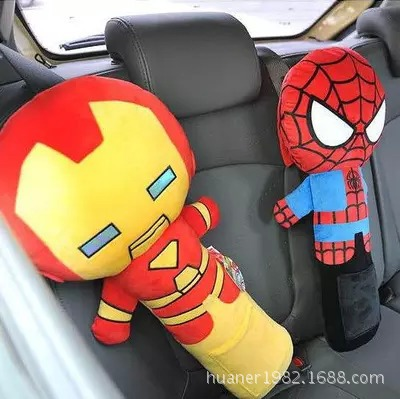 55cm artoon the Avengers plush toys Spiderman car safety belt pillow baby comfort pillow 3 styles free shipping