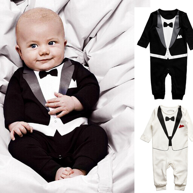 Hot Retail Baby Boys Romper Suit Set Infant Toddler Cotton Long Sleeve Formal Gentlemen Suit Bodysuit Kids Jumpsuit Sets 4Sizes