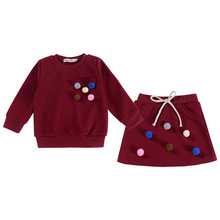 hot deal buy 2pcs autumn baby girls sets cotton sweatershirt&skirt children's infant fashion suit with ball toddler clothing sets for1-6age