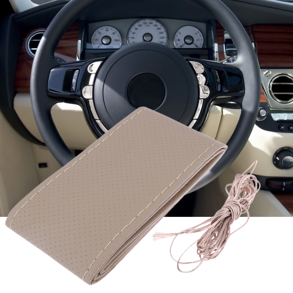 Universal PU Leather Car Steering Wheel Cover With Needles and Thread DIY Leather Steering Covers Interior Car-Styling