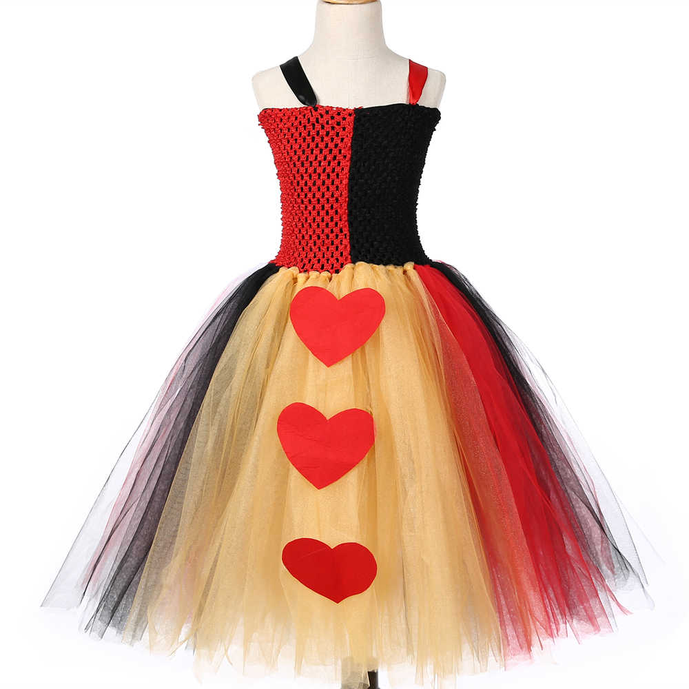 3818a0949 ... Queen of Hearts Tutu Dress Red Black Alice In Wonderland Cosplay  Costume Halloween Kids Girls Birthday ...