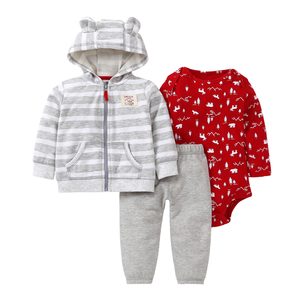 Image 4 - בגדי סט עבור תינוקת סלעית מעילי + romper + מכנסיים יילוד בגדי תלבושת חליפת אימונית 2019 יוניסקס חדש נולד תלבושות כותנה