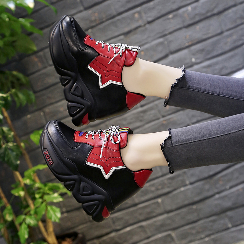 Kjstyrka 2018 Zapatillas Mujer summer autumn Casual mixed color women sneakers fashion increasing ladies wedges platform shoes 6