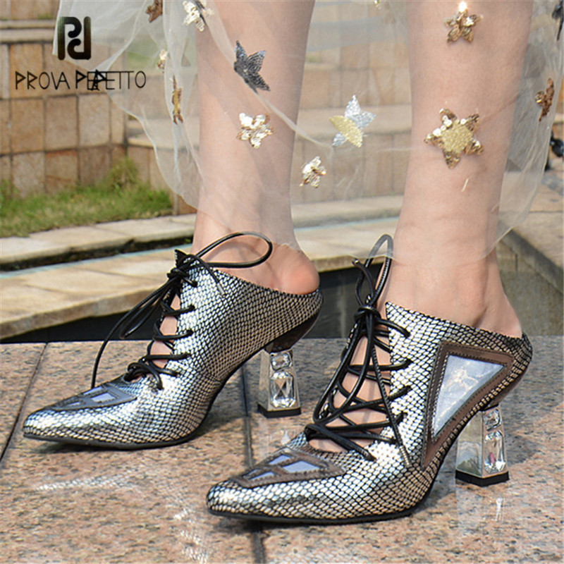 Prova Perfetto Lace Up Women Slippers Pointed Toe Summer Gladiator Sandals High Heel Slides Female Slipper Sexy Stiletto