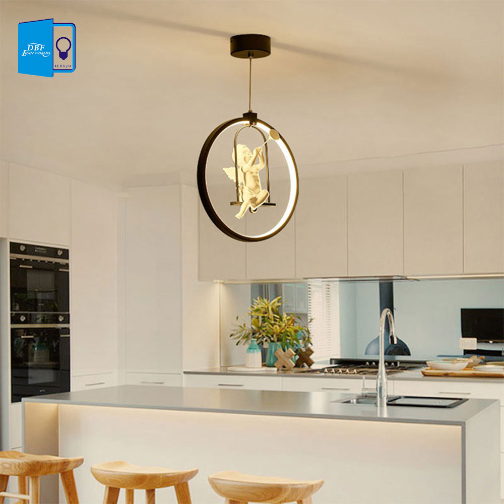 [DBF]3 Colors Adjustable Nordic American Country Style Creative Angel LED Pendant Light Bedroom Living room AC 220V Home Decor