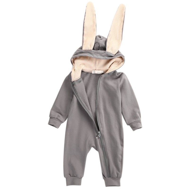 Baby Warm Rabbit Ear Rompers Newborn Infant Grey Jumpsuit Girl Boy Clothes Cute 3D Bunny Ear  Autumn Winter Romper newborn infant baby romper cute rabbit new born jumpsuit clothing girl boy baby bear clothes toddler romper costumes