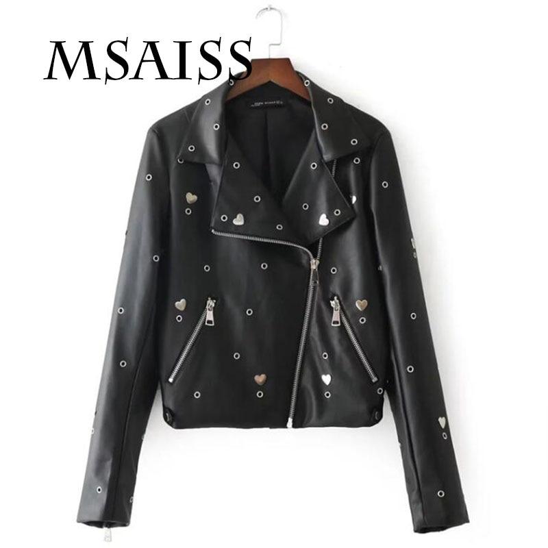 MSAISS Embroidery eagle Eyelet   Leather   Jacket Women Moto Coat Black Faux Jacket jaquetas couro Casaco