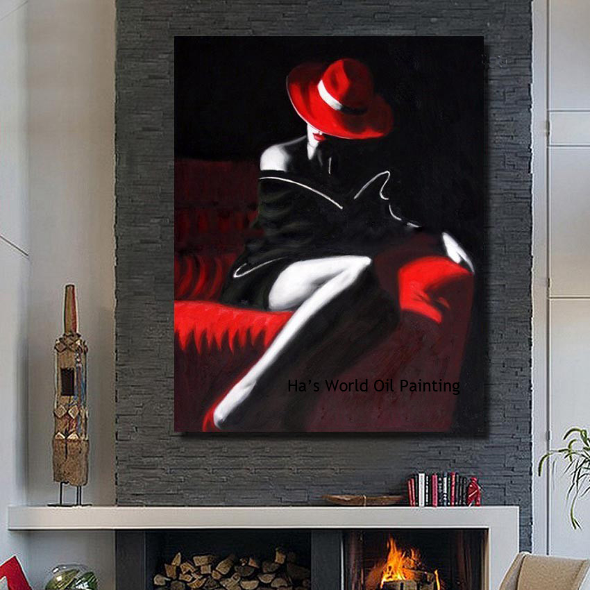 the sexy girls wall art modern paintings large canvas art cheap handpainted oil painting no. Black Bedroom Furniture Sets. Home Design Ideas