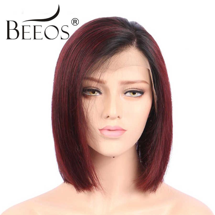 BEEOS Ombre красный 13*4 кружевной передний парик человеческих волос короткий парик-Боб для женщин 150% предварительно сорвал человеческие бразильские волосы Remy прямые