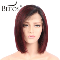 BEEOS Ombre Red Short Human Hair Bob Wig For Black Women 150 Pre Plucked Human Lace