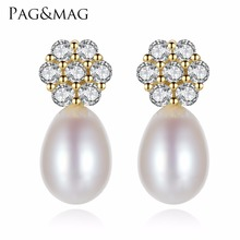 PAG&MAG Romantic Exquisite Flowers Stud Earrings For Women Big Freshwater Natural Pearl  Party Jewelry Gift Factory Wholesale