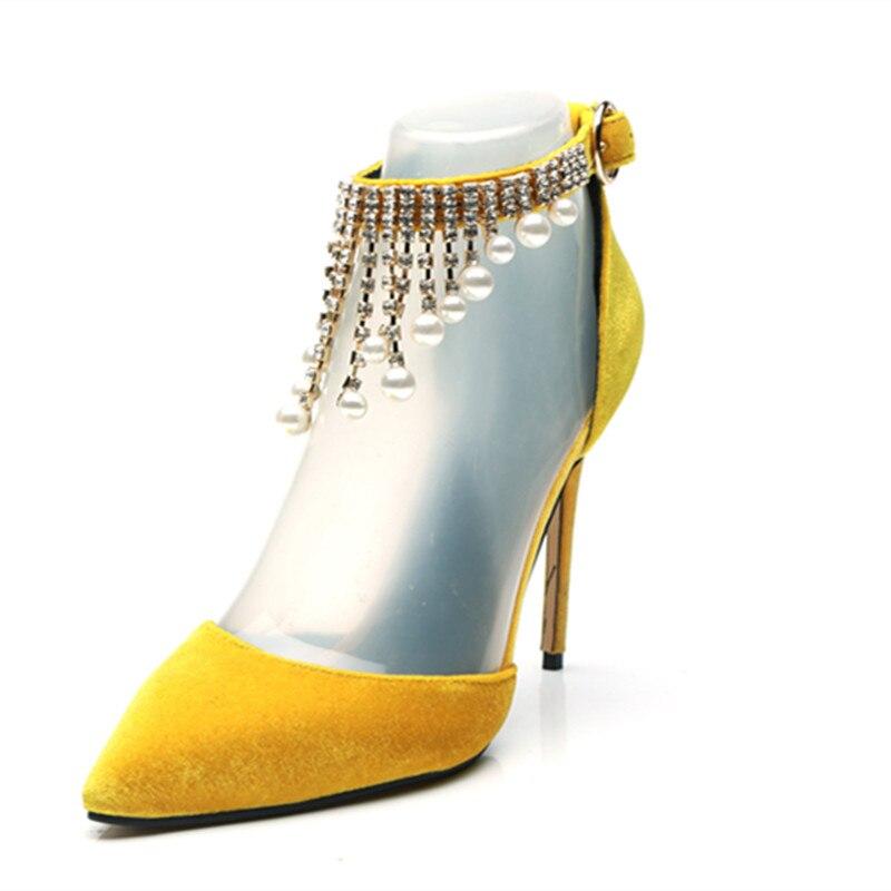 Taille Talons 2018 Jaune Velours D'été Pompe Sandales Piste Perles De Femmes Gladiateur Plus As Mince Mariage Diamants La Pic Partie Cristal ZzwAZx