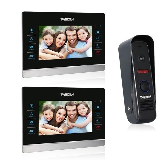 Tmezon 7 inch TFT Color Monitor 1200TVL Camera Video Door Phone Intercom Security Speaker System Waterproof IR Night Vision 2v1