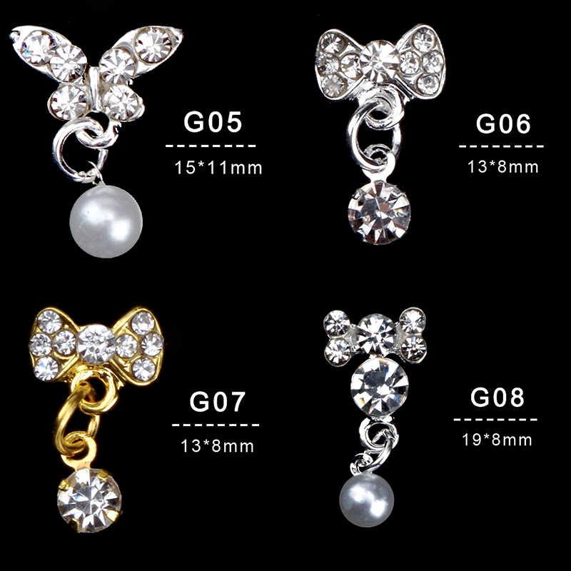 Argent or couleur 3D Nail Art décorations avec strass perle pendentif mélanges papillon coeur nœud papillon couleur strass LRX