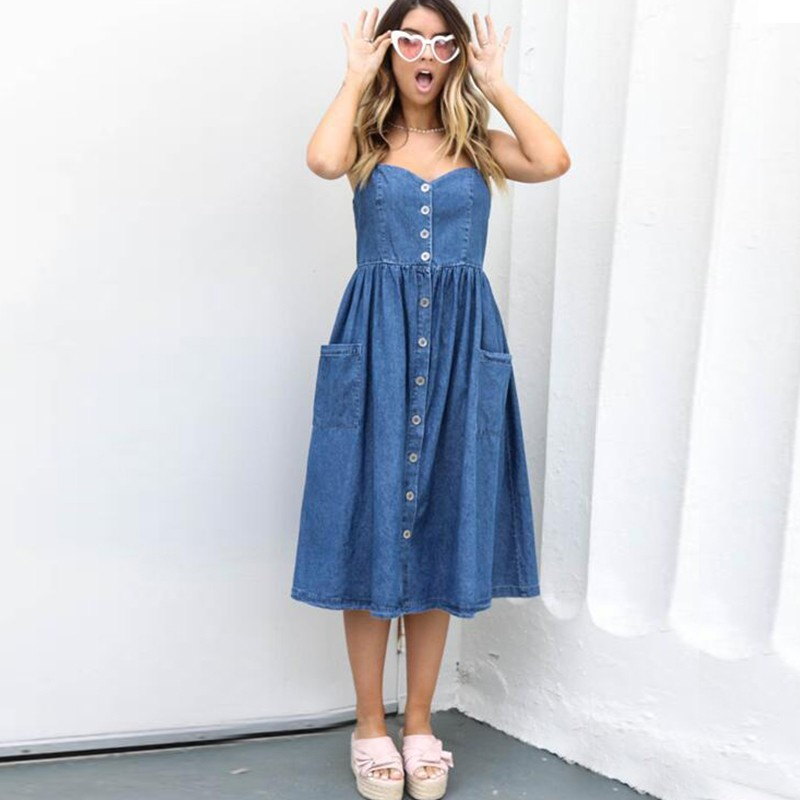 DeRuiLaDy Sexy Casual Summer Strap Dress Blue Denim Button Long Beach Desses Pockets Women Sundress Elegant Dess Female Vestidos