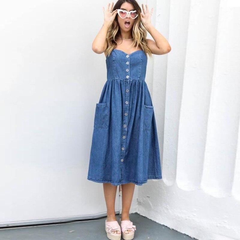 GUMPRUN Sexy Casual Summer Strap Dress Blue Denim Button Long Beach Desses Pockets Women Sundress Elegant Dess Female Vestidos