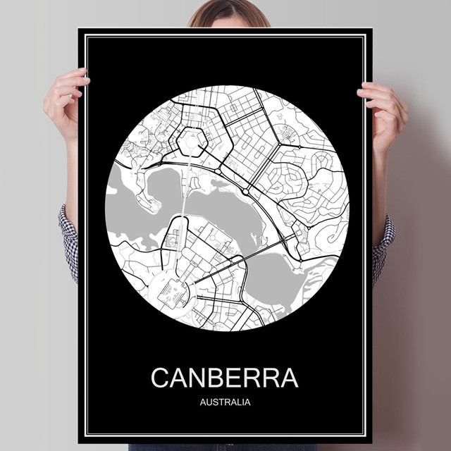 canberra australia famous world city map print poster print on paper or canvas wall sticker bar