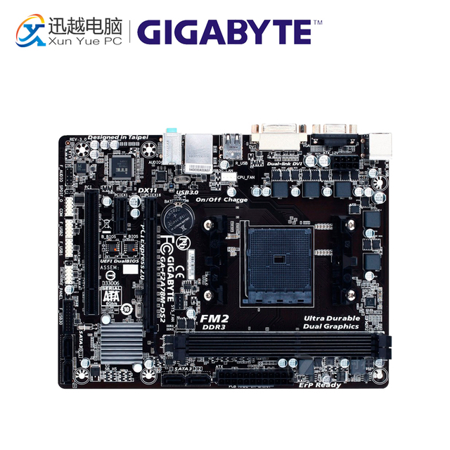 US $81 72 |Gigabyte GA F2A78M DS2 Desktop Motherboard F2A78M DS2 A78 Socket  FM2 64G DDR3 SATA3 USB3 0 Micro ATX-in Motherboards from Computer & Office