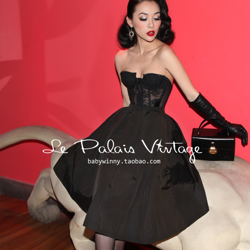 Le palais vintage elegant pin black classic pleated puff skirt/SKIRT