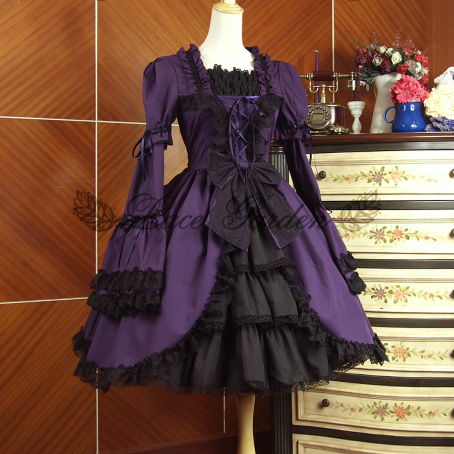 summer women victorian lolita dress Ladies Evening party bandage lace Ruffled gothic dress Connection sleeves lolita