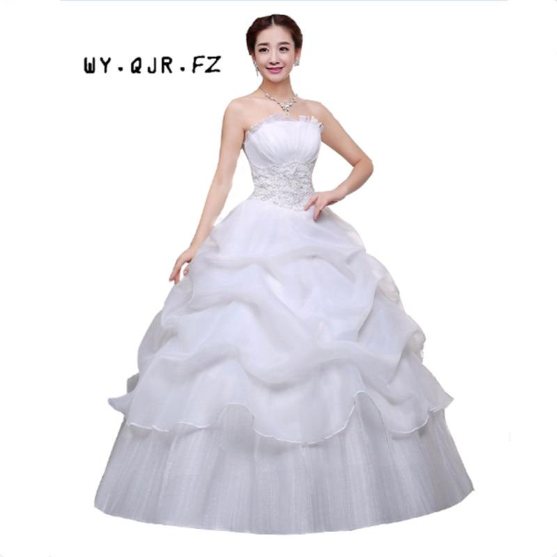 YC73H#Spring Autumn Wedding Party Dress New Bride Wedding Dress Code Korean Women Slim Lace Special Offer Wedding Gown Red White