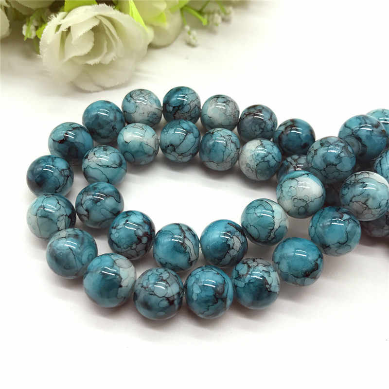 Wholesale 6 8 10mm pattern glass bead spacer jewelry Bulk Beads For DIY Making Bracelet Necklace Jewelry #04