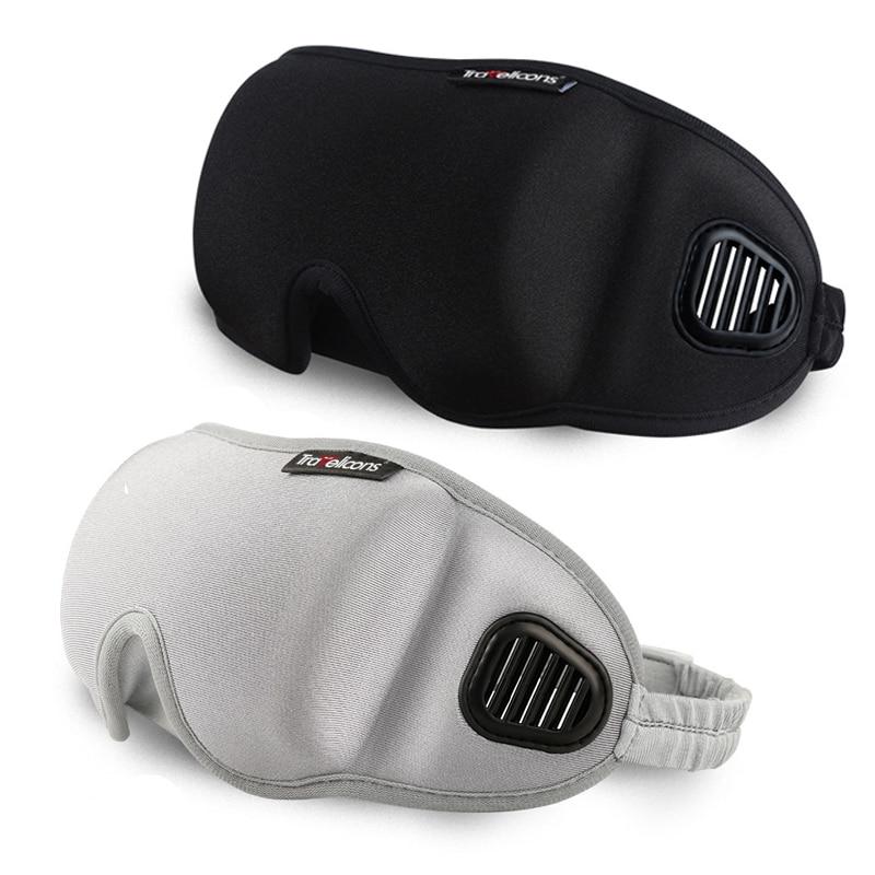 3D Eye Cover Sleeping Mask Eyeshade Travel Office Sleep Women Men Goggles Breathable Soft Adjustable Eyepatch Black Blindfold