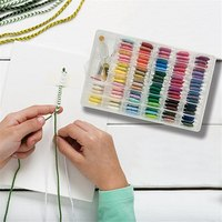 96pcs Embroidery Floss Cross Stitch Thread Kit with Threader Bobbins Sewing Needles Storage Box Embroidery Starter Sewing Tools
