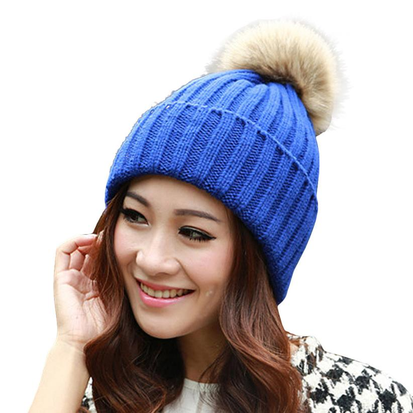 bc7fa61eb15 SIF Winter Autumn Fashion Women Wool Knitted Beanies Caps 100% Real Raccoon  Fur Pompom Beanie Hats For Women JAN 04 Hot 2017