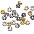 100pcs/lot 6MM Spacer Four Colors Metal Rondelle Rhinestone Loose Crystal Jewelry Beads