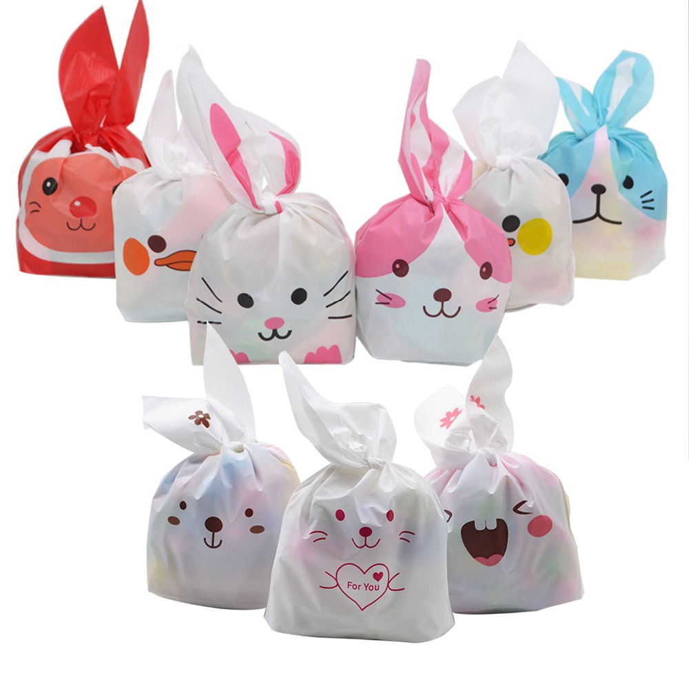 25pcs/lot Long Bunny Rabbit Ears Cookies Bags Candy Biscuit Packaging Bag Wedding Candy Gift Bags Birthday Easter Party Supplies