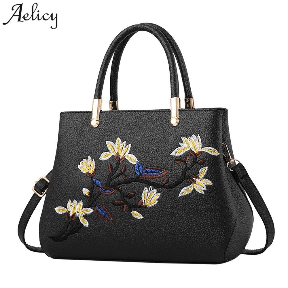 b26d036376 Aelicy Luxury High Quality Women Bag Zipper Embroidery Handbag PU Leather Woman  Designer