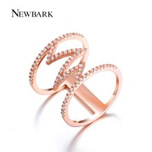 NEWBARK Punk Ring Rose Gold Plated Rings Trendy Geometric Wedding Bague Cubic Zirconia Women Jewelry For Party Gifts
