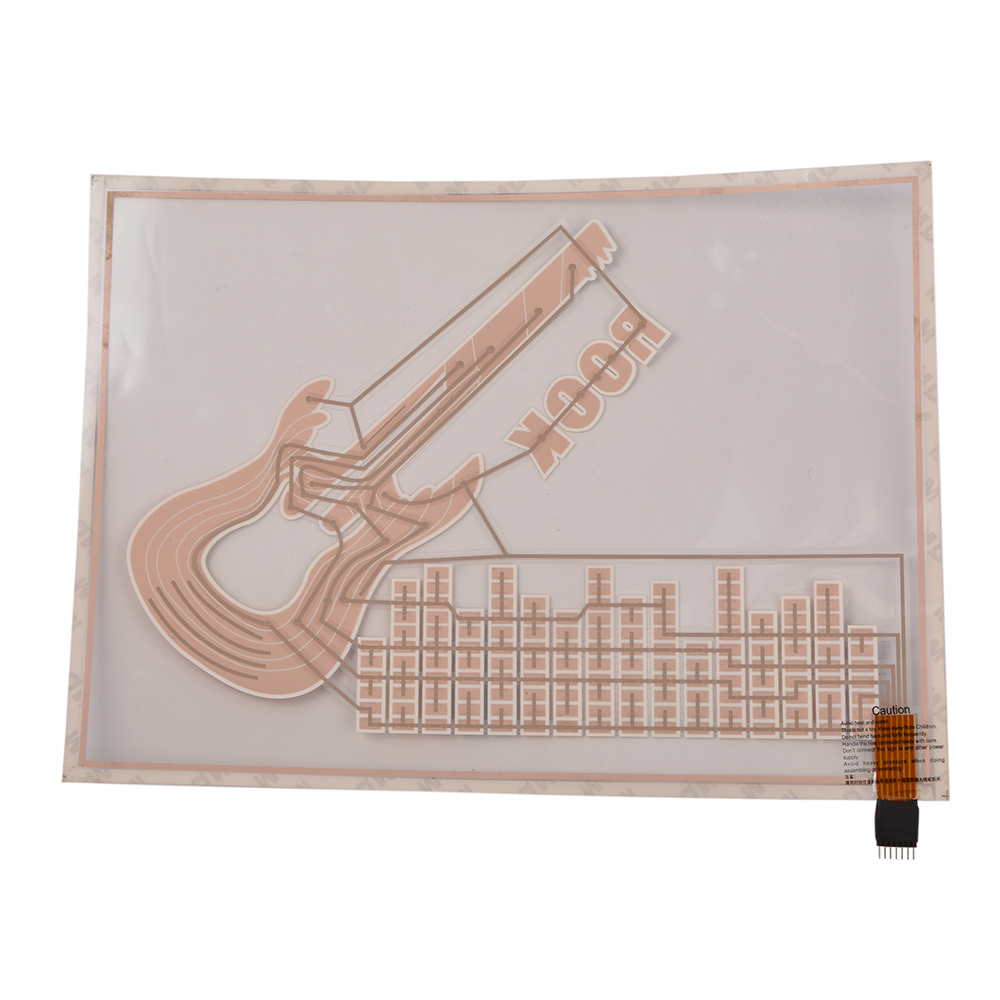 40cm*29.5cm Music Rhythm Sticker Colorful Guitar Pattern LED Flash Sound Activated Rhythm Light Car Sticker