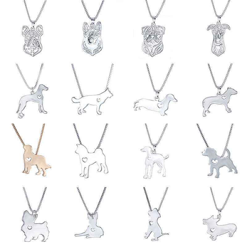 Statement Choker Necklace Metal Alloy Pet Dog Family Stroll Design Chain Collar Bulldog Pendant Necklace Fashion Jewelry Women