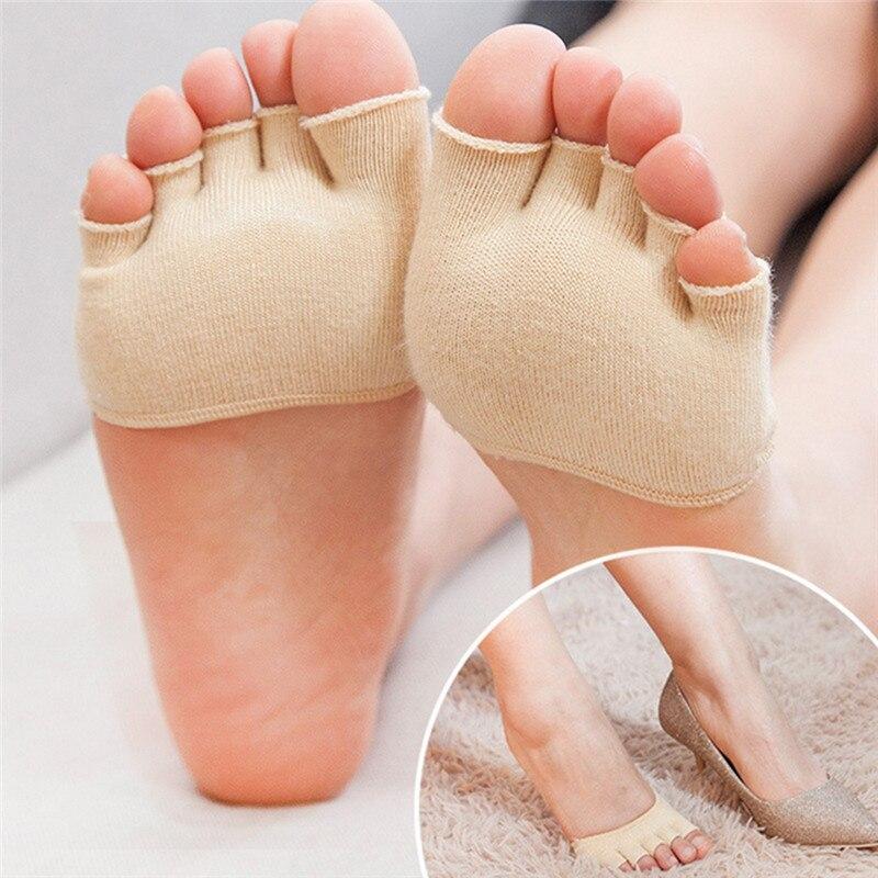 1 Paar Atmungsaktive Baumwolle Schwamm Halbe Einlegesohlen Pads 5 Zehen Kissen Mittelfuß Wund Vorfuß Unterstützung Massage Kappe Socken 4 Farben