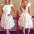Сексуальные жемчуг бисероплетение кап-рукава и спинки короткие белые кружева коктейльные платья 2016