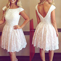 Sexy Pearls Beading Cap Sleeve and Backless Short White Lace Cocktail Dresses 2016