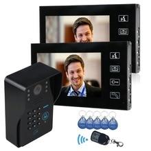 """7 """" Color LCD Touch Key Video puerta timbre del teléfono Intercom IR cámara de la puerta campana teclado de código huelga Lock interruptor 1 cámara 2 monitor"""