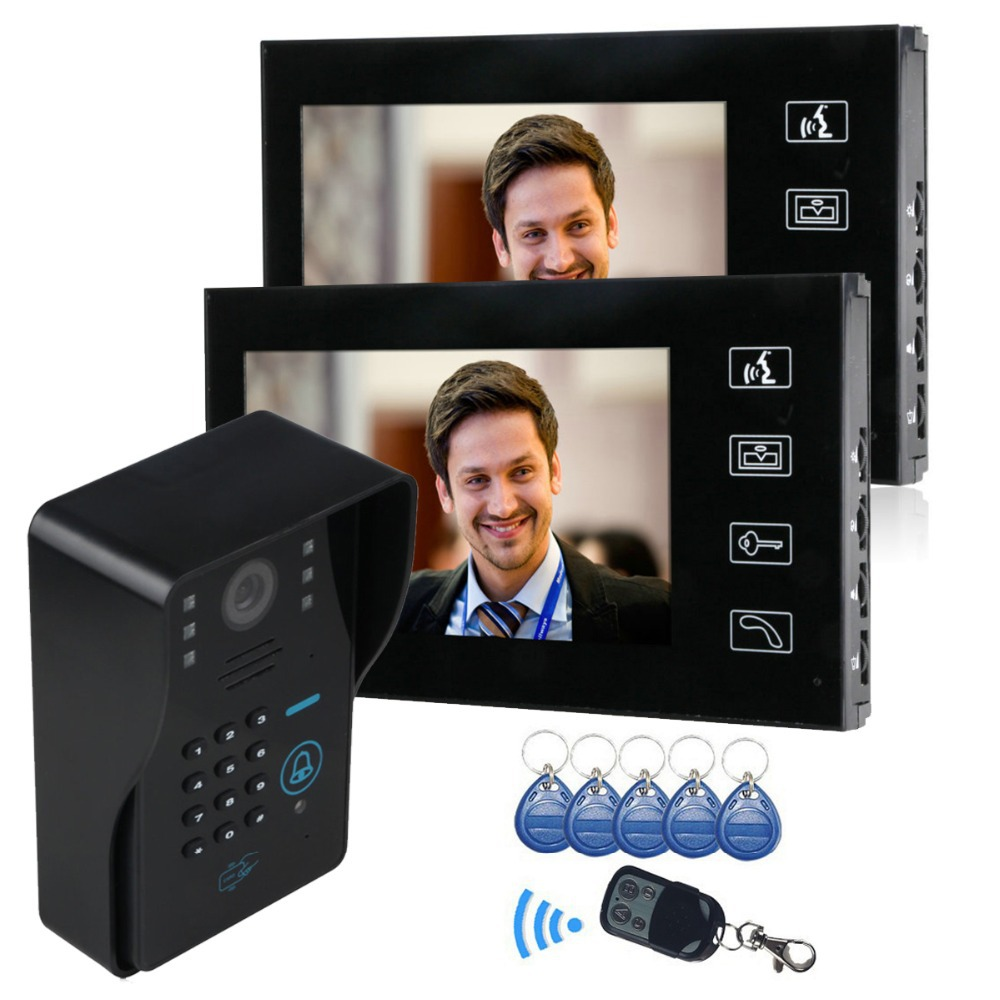 7 Color LCD Touch Key monitor Video Door Phone Doorbell Intercom System Code RFID Card Remote control Video Door Bell 2-monitor7 Color LCD Touch Key monitor Video Door Phone Doorbell Intercom System Code RFID Card Remote control Video Door Bell 2-monitor