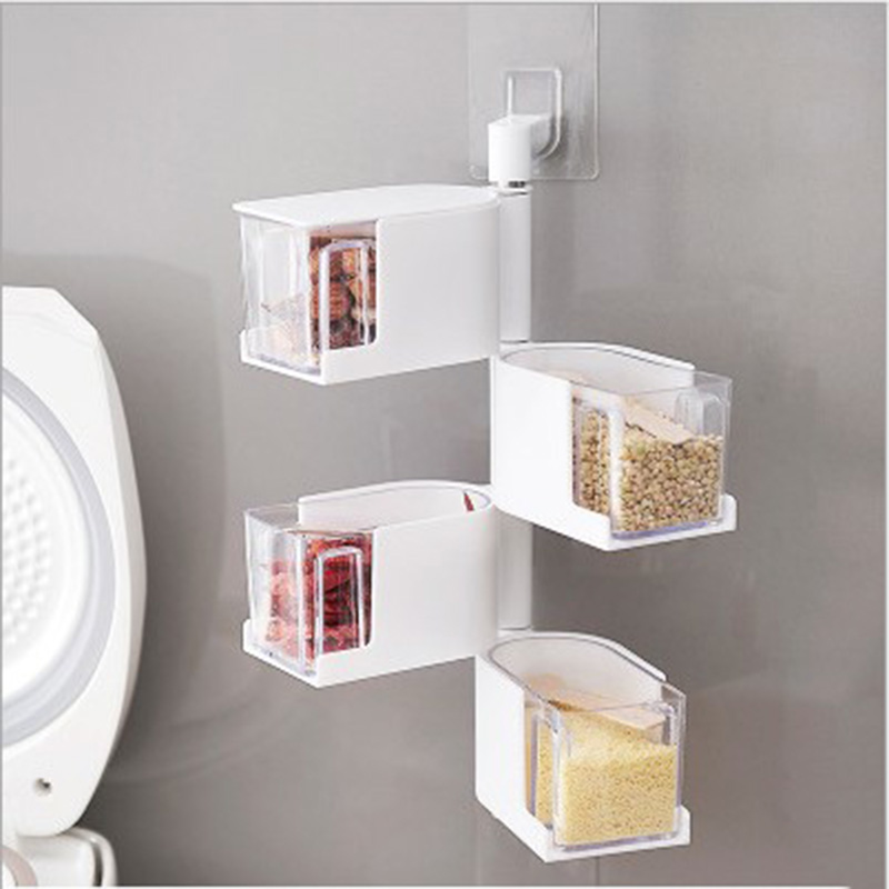 1 pcs seasoning storage boxes spice jar kitchen condiment box spices storager wall hanging rotating kitchen tools