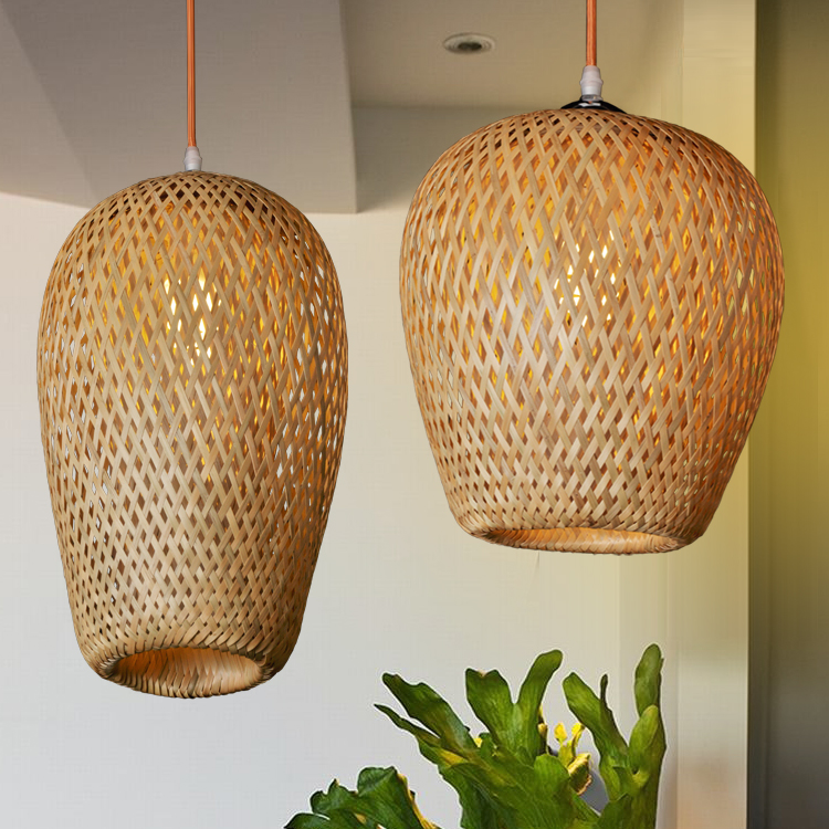 Bamboo pendant lights personalized garden Southeast Asia corridor loft lighting creative restaurant restaurant pendant lamps ZA dia 56cm creative wooden chinese style dining room chandeliers black or natural bamboo japanese southeast asia pendant lamps