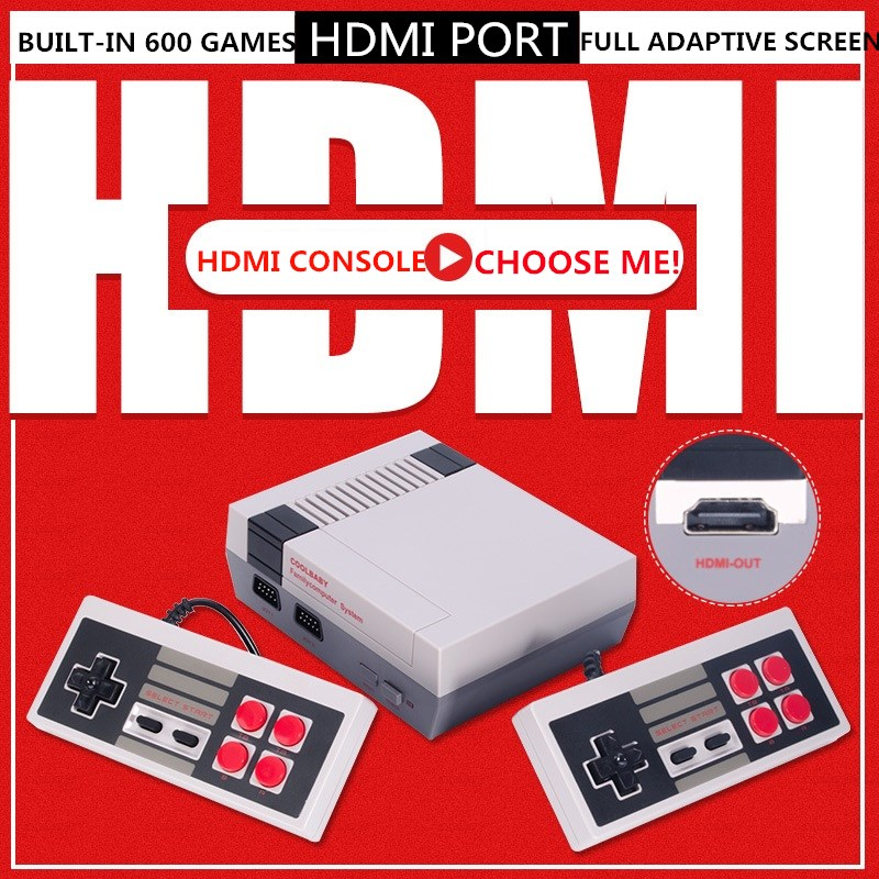 US $32 1 5% OFF|4K HDMI Output 8Bit Retro Classic Handheld Game Player TV  Video Game Console Childhood Built in 600 Games Mini Console PAL&NTSC-in
