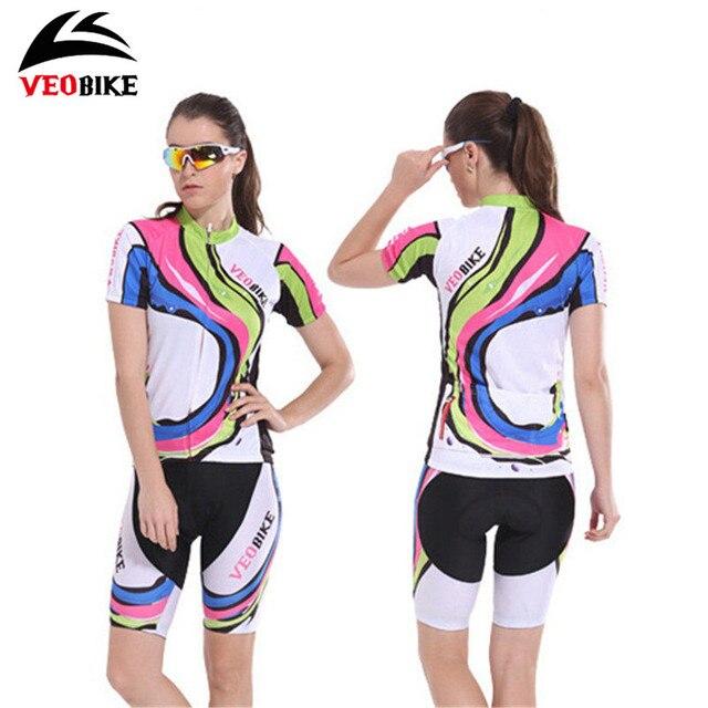 92683b6e7 VEOBIKE Women Short-sleeve Cycling Jersey Sets Tight Shorts MTB Bicycle  Bike Clothing Breathable Sport Wear Summer Roupa