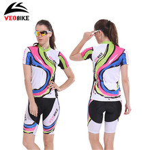 VEOBIKE Women Short-sleeve Cycling Jersey Sets Tight Shorts MTB Bicycle Bike Clothing Breathable Sport Wear Summer Roupa