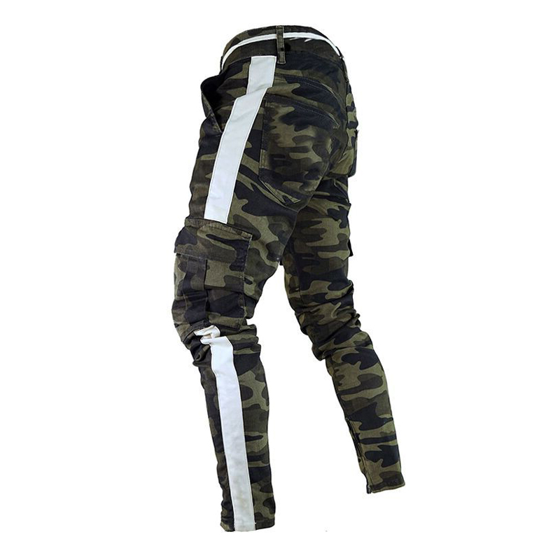 Trousers Pant-Side Cargo Combat Military-Work Streetwear Stripe Plus-Size Camouflage title=
