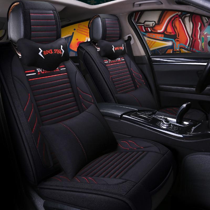 Housses de siège auto universelles en fiber de lin pour Toyota PRADO CROWN AVALON HIGHLANDER RAV4 C-HR IZOA CAMRY HYBRID